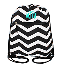 Black and White Chevron Flat Drawstring Backpack #BP501-165-B/W