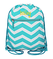 Light Blue and White Chevron Flat Drawstring Backpack #BP501-165-LT/W