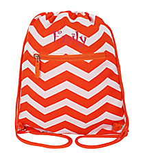 Orange and White Chevron Flat Drawstring Backpack #BP501-165-OR/W