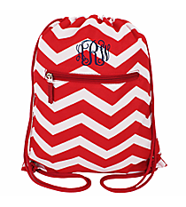 Red and White Chevron Flat Drawstring Backpack #BP501-165-R/W