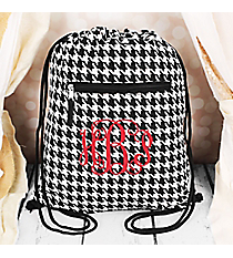Houndstooth with Black Trim Flat Drawstring Backpack #BP501-606-B/W
