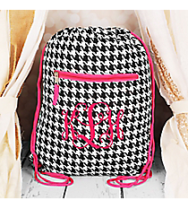 Houndstooth with Fuchsia Trim Flat Drawstring Backpack #BP501-606-F