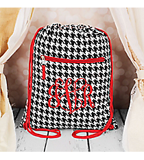 Houndstooth with Red Trim Flat Drawstring Backpack #BP501-606-R