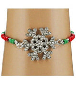 Red and Green Snowflake Stretch Bracelet #AB6046-RHR