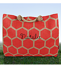 Large Coral Honeycomb Juco Shoulder Tote #BUL634-CORAL