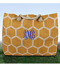 Large Gold and White Honeycomb Juco Shoulder Tote #BUL634-GOLD/WH