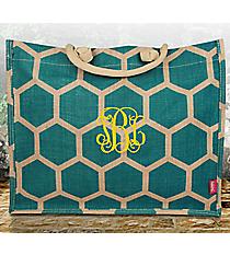 Aqua Honeycomb Juco Box Tote #BUL675-AQUA
