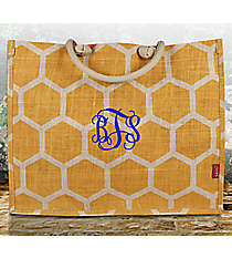 Gold and White Honeycomb Juco Box Tote #BUL675-GOLD/WHx Tote #BUL675-AQUA
