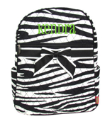 Zebra Quilted Large Backpack with Black Trim #ZBRB2828-BLACK