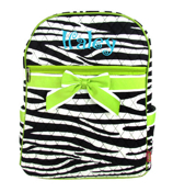 Zebra Quilted Large Backpack with Lime Trim #ZBRB2828-LIME