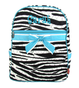 Zebra Quilted Large Backpack with Turquoise Trim #ZBRB2828-TURQ