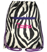 Mega Zebra Print and Purple Drawstring Backpack #B6-2007-PU