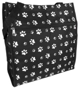 Black with White Paw Prints Shopper Tote #PH3013-587-B/W