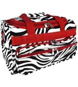 "Zebra with Red Trim 13"" Petite Duffle Bag #T13-163-R"