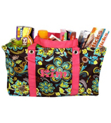 Paisley Flower Collapsible Haul-It-All Utility Basket #PRY401-H/PINK