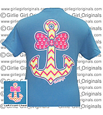 Bow Tie Chevron Anchor Heather Sapphire T-Shirt *Choose Your Size