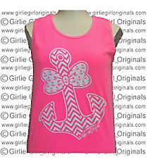 Bow Tie Chevron Anchor Neon Pink Tank Top *Choose Your Size