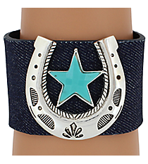 SALE! Horseshoe and Star Denim Cuff Bracelet #AB4538-ASTQ