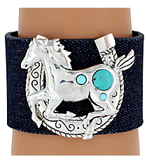 SALE! Horseshoe and Horse Denim Cuff Bracelet #AB4539-ASTQ