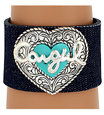 "SALE! ""Cowgirl"" Heart Denim Cuff Bracelet #AB4544-ASTQ"