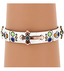 Tri-Tone and Multi-Color Cross Stretch Bracelet #AB7136-B3TMX