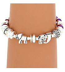 Silvertone and Red Elephant Stretch Charm Bracelet #AB7145-ASR