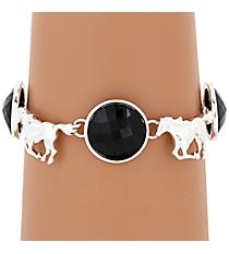 Silvertone Horse and Jet Bead Magnetic Bracelet #AB7206-SJ