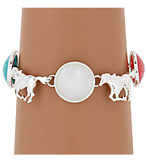 Silvertone Horse and Iridescent Tri-Color Bead Magnetic Bracelet #AB7206-SMT