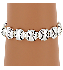 Silvertone Baseball Stretch Bracelet #JB4249-AS