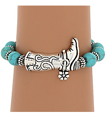 Silvertone Boot and Turquoise Beaded Stretch Bracelet #JB4280-ASTQ