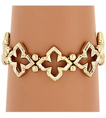 Goldtone Quatrefoil Cut Out Stretch Bracelet #JB4301-G