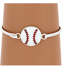 Baseball Silvertone Bangle #JB4355-SWT