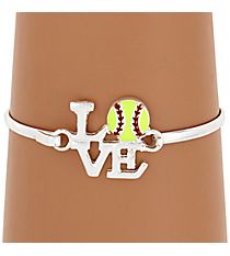Love Softball Silvertone Bangle #JB4360-SYE