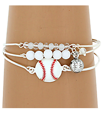 3-Piece White Baseball Bangle Set #JB4386-SWT
