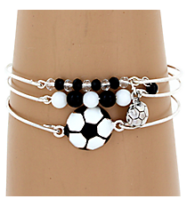 3-Piece Black and White Soccer Bangle Set #JB4387-SBW
