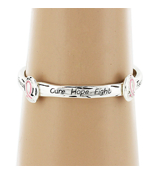 Cure, Hope, Fight Silvertone Stretch Bracelet with Pink Ribbon Accents #AB6282-ASP