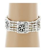 Silvertone Snowflake Stretch Bracelet #AB6338-AS