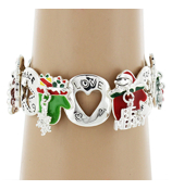 Christmas Themed Mitten Stretch Charm Bracelet #AB6044-ASMX