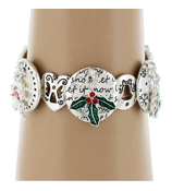 Christmas and Winter Themed Silvertone Stretch Charm Bracelet #AB6042-ASMX