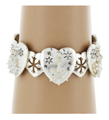 Heart and Snowflake Silvertone Stretch Charm Bracelet #AB6041-AS