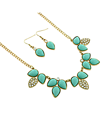 "18"" Goldtone and Mint Green Petal Bubble Necklace and Earring Set #13657MAL-G"
