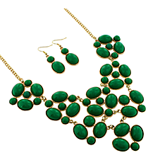 "19"" Goldtone and Emerald Green Bubble Necklace and Earring Set #13658EM-G"