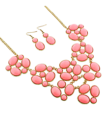 "19"" Goldtone and Pink Bubble Necklace and Earring Set #13658LRO-G"