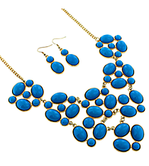 "19"" Goldtone and Sapphire Blue Bubble Necklace and Earring Set #13658SA-G"