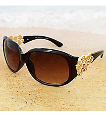 One Pair Crystal Goldtone Rose Flourish Brown Sunglasses #CARAT905