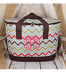 Multi-Color Chevron with Brown Trim Cooler Tote with Lid #LCB-1323