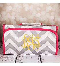 Gray and White Chevron with Pink Trim Roll Up Cosmetic Bag #CB-1325-P