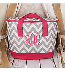 Gray and White Chevron with Pink Trim Cooler Tote with Lid #LCB-1325-P