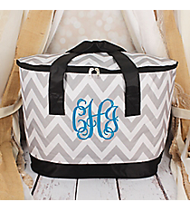 Gray and White Chevron with Black Trim Cooler Tote with Lid #LCB-1325