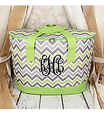 Green and Gray Chevron Cooler Tote with Lid #LCB-1326